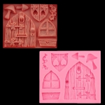 2 PCS Cartoon House Wooden Window Shape Silicone Candy Mold Fairy Tale Cake Decorating Tool