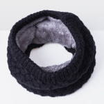 Winter Plus Velvet Thicken Warm Pullover Knit Scarf, Size:47 x 22cm(Black)