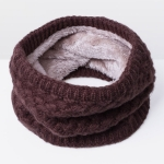 Winter Plus Velvet Thicken Warm Pullover Knit Scarf, Size:47 x 22cm(Coffee)
