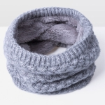 Winter Plus Velvet Thicken Warm Pullover Knit Scarf, Size:47 x 22cm(Gray)