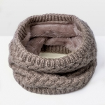 Winter Plus Velvet Thicken Warm Pullover Knit Scarf, Size:47 x 22cm(Khaki)