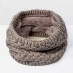 Winter Plus Velvet Thicken Warm Pullover Knit Scarf, Size:47 x 22cm(Khaki)