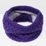 Winter Plus Velvet Thicken Warm Pullover Knit Scarf, Size:47 x 22cm(Purple)