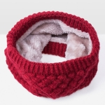 Winter Plus Velvet Thicken Warm Pullover Knit Scarf, Size:47 x 22cm(Dark Red )