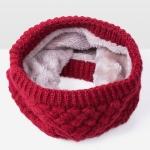 Winter Plus Velvet Thicken Warm Pullover Knit Scarf, Size:47 x 22cm(Dark Red )
