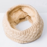 Winter Plus Velvet Thicken Warm Pullover Knit Scarf, Size:47 x 22cm(Beige)