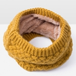 Winter Plus Velvet Thicken Warm Pullover Knit Scarf, Size:47 x 22cm(Yellow)