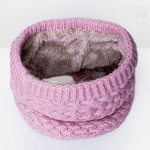 Winter Plus Velvet Thicken Warm Pullover Knit Scarf, Size:47 x 22cm(Pink)