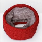 Winter Plus Velvet Thicken Warm Pullover Knit Scarf, Size:47 x 22cm( Red)