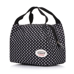 Fashion Portable Insulated Canvas lunch Bag Thermal Food Picnic Lunch Bags(black white  )