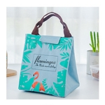 2 PCS Flamingo Pattern Tote Thermal Bag  Waterproof Oxford Lunch Bag(Green)