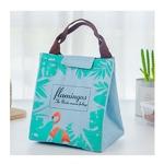 2 PCS Flamingo Pattern Tote Thermal Bag  Waterproof Oxford Lunch Bag(Green)