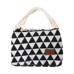 Cotton Linen Fashion Insulation Waterproof Portable Lunch Bag Insulation Bag Insulation Package(Black and white triangle)