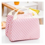 Functional Pattern Cooler Lunch Box Portable Insulated Canvas Lunch Bag Thermal Food Picnic Lunch Bags(Pink stripe)
