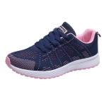 Mesh Breathable Flat Sneakers Running Shoes Casual Shoes for Women, Size:35(Blue Pink)