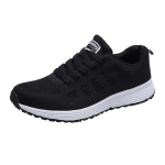 Mesh Breathable Flat Sneakers Running Shoes Casual Shoes for Women, Size:36(Black)