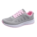 Mesh Breathable Flat Sneakers Running Shoes Casual Shoes for Women, Size:37(Gray Pink)