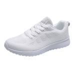 Mesh Breathable Flat Sneakers Running Shoes Casual Shoes for Women, Size:37(White)