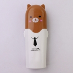 Lovely Towel Toothbrush Holder Case Outdoor Travel Camping Toothpaste Multi Cap Storage Case(brown bear)