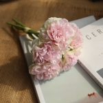 5 Heads Fake Flowers Artificial Flowers Peony Bouquet for Wedding and Home Decoration(Light Pink)
