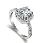 Fashion Big Cubic Crystal Silver Zircon Ring Wedding Jewelry Party Gift, Ring Size:6