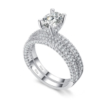 Double Row For Women Fashion Cubic Zirconia Wedding Engagement ring, Ring Size:10(Egg Shape White Gold)