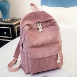 Soft Fabric Backpack Female Corduroy Design School Backpack for Teenage Girls Women(Pink)