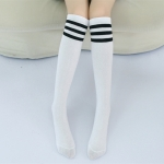 High Knee Socks Stripes Cotton Sports School Skate Long Socks for Kids, Size:28cm(White+Black Strip)