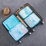 6 in 1 Fashion Big Capacity Zipper  Nylon Waterproof  Women Travel Bag Luggage Organizer Journey Bag(Lake blue)