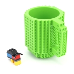 Building Blocks Design Creative Milk Mug Coffee Cup Build-on Brick Drinking Water Holder, Value:301-400ml(Green)