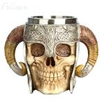 Stainless Steel Skull Mug Ram Horned Warrior Beer Coffee Mug Tea Cup Halloween Bar Drinkware Gift, Capacity:501-600ml
