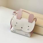 Girls PU Coin Purse Bag Wallet Kids Rabbit One Shoulder Bag Small Coin Purse(White)
