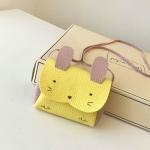 Girls PU Coin Purse Bag Wallet Kids Rabbit One Shoulder Bag Small Coin Purse(Yellow)