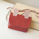 Girls PU Coin Purse Bag Wallet Kids Rabbit One Shoulder Bag Small Coin Purse(Red)