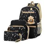 Fashionable Canvas Star Printing Backpacks with Bear Pendant Travel Bag Rucksacks, 3 PCS / Set(Black)