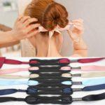 2 PCS Hair Curls Bun Head Band Hair Maker Silk Ribbon Bowknot Hairband Small Size(Black)