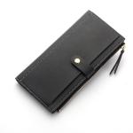 Long Women Hasp Leather Clutch Coin Purse Wallets(Black)