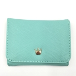 Short Mini Women Wallets Crown Decorated Fold PU Leather Coin Purse Card Holder(Light Green)