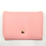 Short Mini Women Wallets Crown Decorated Fold PU Leather Coin Purse Card Holder(Pink)