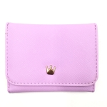 Short Mini Women Wallets Crown Decorated Fold PU Leather Coin Purse Card Holder(Purple)