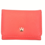Short Mini Women Wallets Crown Decorated Fold PU Leather Coin Purse Card Holder(Red)