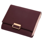 Luxury Wallet Female Leather Women Leather Purse Plaid Wallet Ladies Hot Change Card Holder Coin Small Purses for Girls(Wine red)