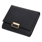 Luxury Wallet Female Leather Women Leather Purse Plaid Wallet Ladies Hot Change Card Holder Coin Small Purses for Girls(Black)