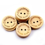 100 PCS/Set Natural Color Wooden Buttons Handmade Love Letter Wood Button Craft DIY Baby Apparel Accessories(15mm)