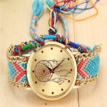 177 Ethnic Style Hand-woven Multi-color Belt Watch(No. 4 color dream catcher (with hand strap))