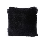 Candy Color Plush Sofa Waist Pillow Cushion Case for Home Decor, Specification:42cmx42cm(Black)