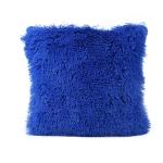 Candy Color Plush Sofa Waist Pillow Cushion Case for Home Decor, Specification:42cmx42cm(Dark Blue)