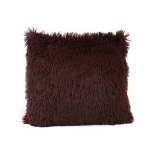 Candy Color Plush Sofa Waist Pillow Cushion Case for Home Decor, Specification:42cmx42cm(Coffee)