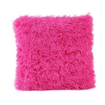 Candy Color Plush Sofa Waist Pillow Cushion Case for Home Decor, Specification:42cmx42cm(Rose Red)