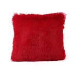 Candy Color Plush Sofa Waist Pillow Cushion Case for Home Decor, Specification:42cmx42cm(Red)